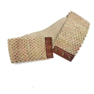 Thick Wide Burlap Multicolor Stretchy Belt Small